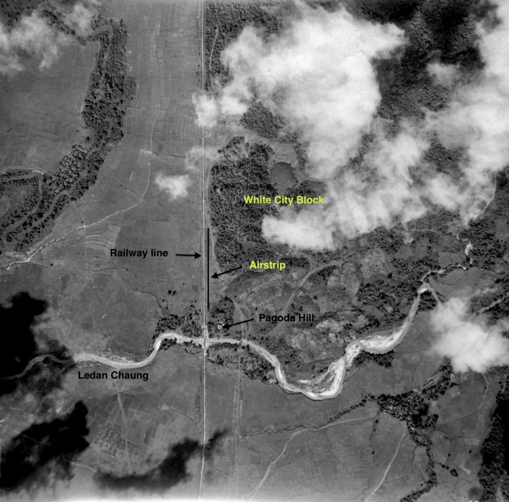 An aerial photograph of the White City block, November 1944.