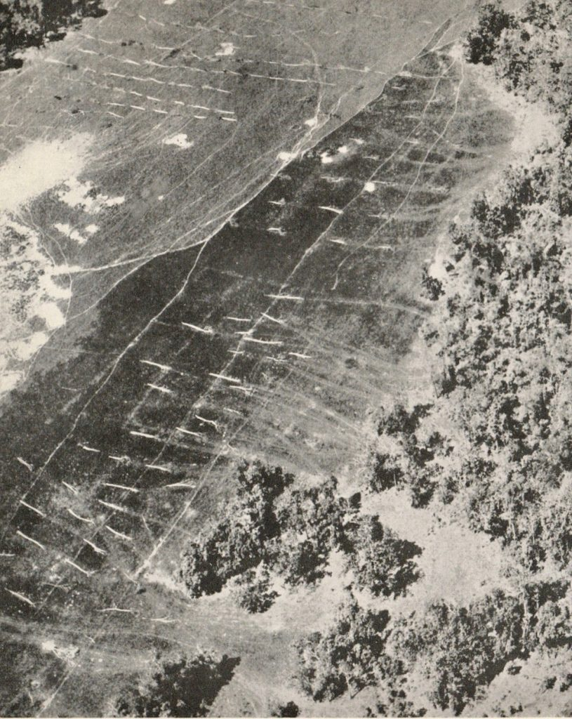 Aerial photograph of the Piccadilly landing ground.
