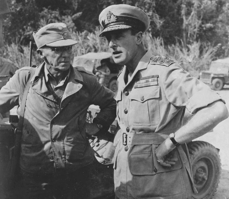American General Joseph Stilwell with Admiral Louis Mountbatten in March 1944.
