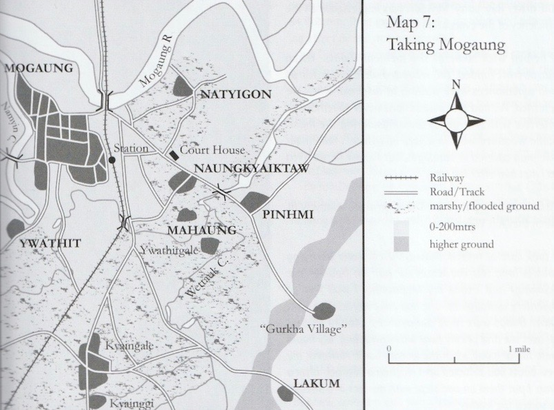 Map of area around Mogaung.