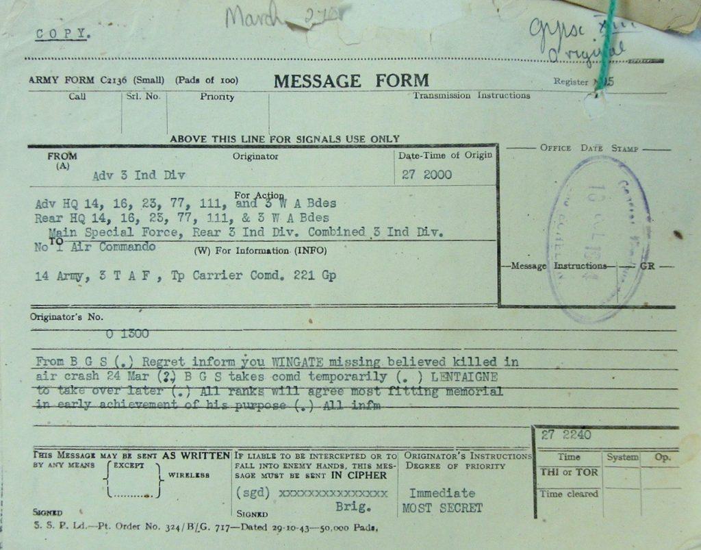 Wingate's death telegram copy