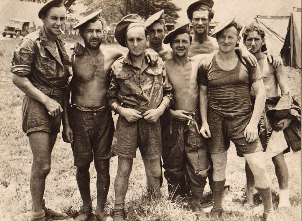 Chindit POWs after their liberation from Rangoon Jail in late April 1945.