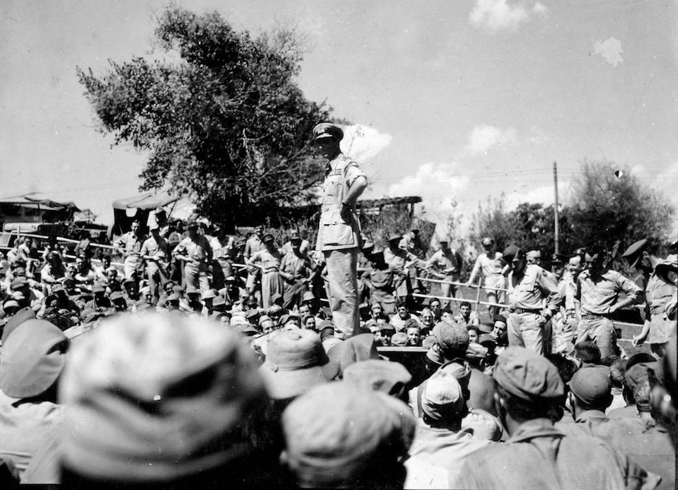 Supreme Allied Commander, Louis Mountbatten congratulates the men of 1st Air Commando.