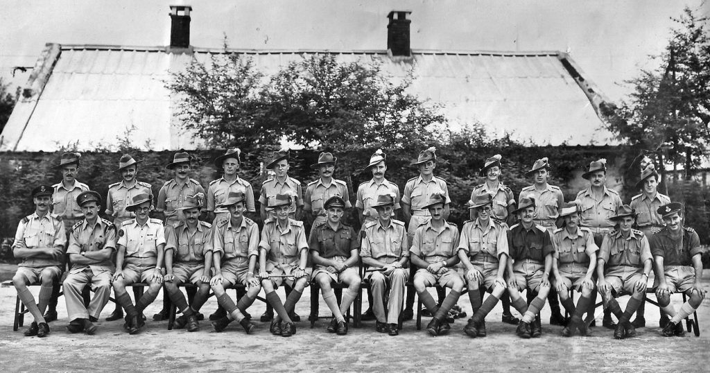 The officers (including Brigadier Mike Calvert) of the 1st Battalion, the Lancashire Fusiliers, in India post Operation Thursday.