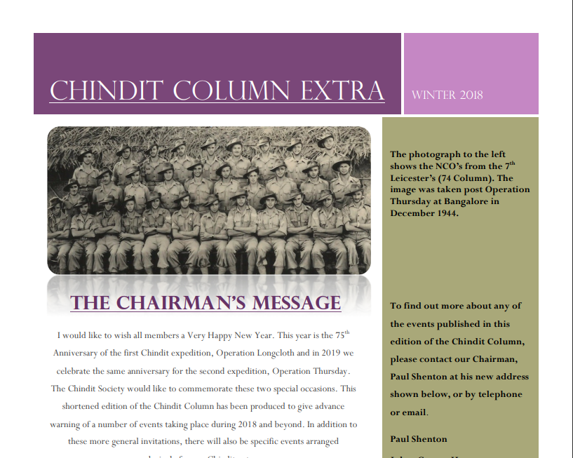 The Chindit Column - Winter 2018